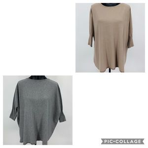 Cyrus Set of 2 Oversized Sweaters in Tan and Gray
